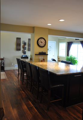 large kitchen island with chairs