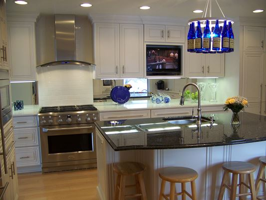 White cabinets with dark counter tops